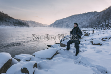 russia amur oblast man standing at