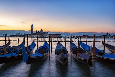 italy veneto venice gondolas in front