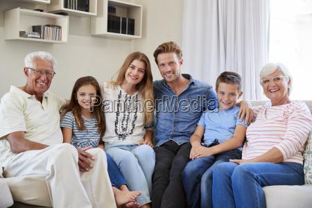 portrait of multi generation family sitting