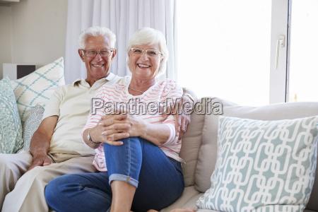 portrait of senior couple relaxing on