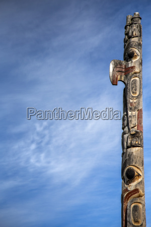 low angle view of totem pole