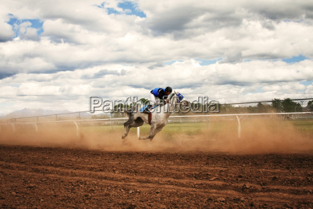 side view of jockey riding horse
