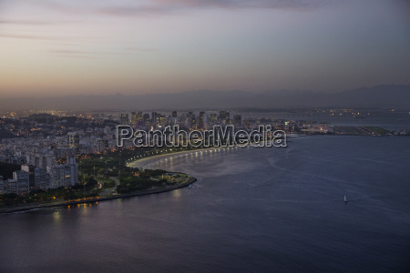 scenic view of cityscape and sea