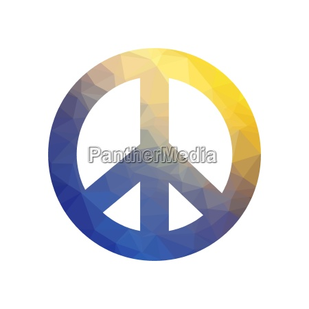 colored pacifist sign isolated on white