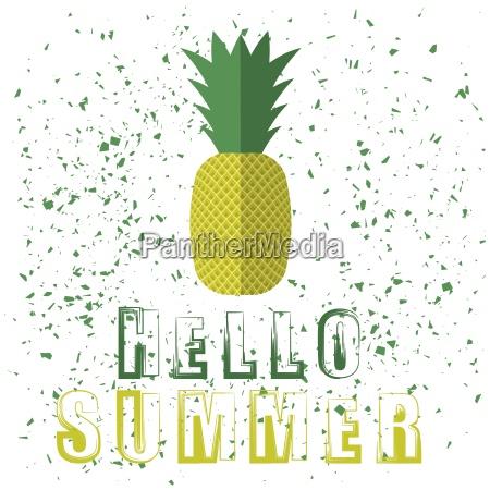 pineapple icon typography design on white