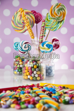 colorful lollipops and different colored round
