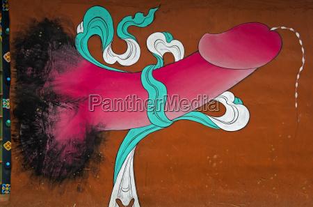 fallos kult traditionelt vaegmaleri med fallos