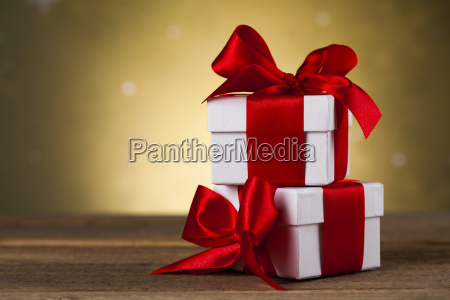 christmas background with decorations and gift
