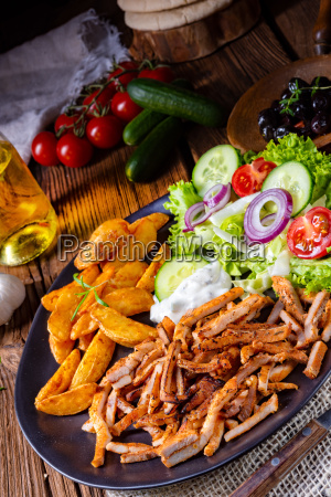 rustic gyros plate with green salad
