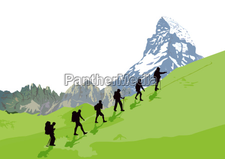 mountaineer in front of mountain sceneryillustration