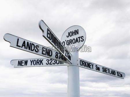 sign for destinationer og afstande fra