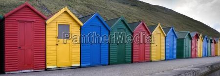 row of colorful cabanas