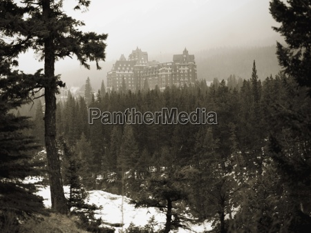 view of banff hotel through woods