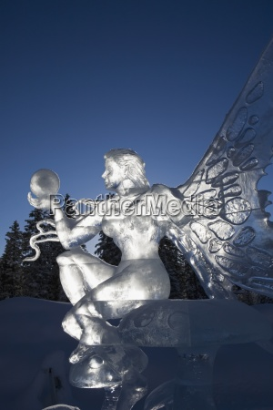 a backlit ice sculpture of a
