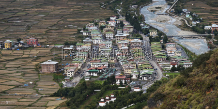 high angle view of paro town