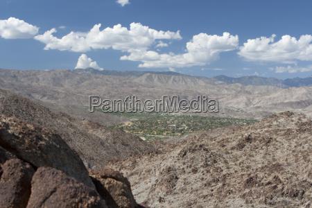 desert mountain landscape and green valley