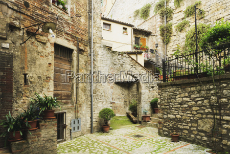 stone residential buildings with decorative plants