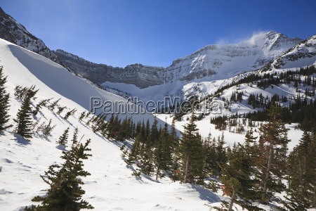 mountain bowl with blowing snow on