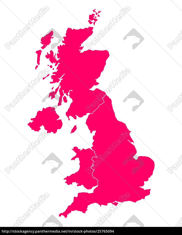 Kort Over Storbritannien Stockphoto 25765094 Panthermedia