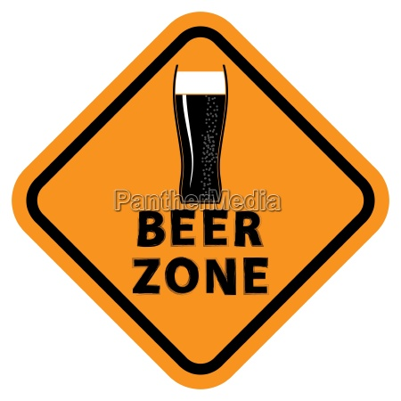 beer glass and beer zone text