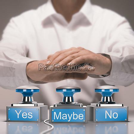 hurtigt beslutningstagning og ubeslutsomhed concept ja