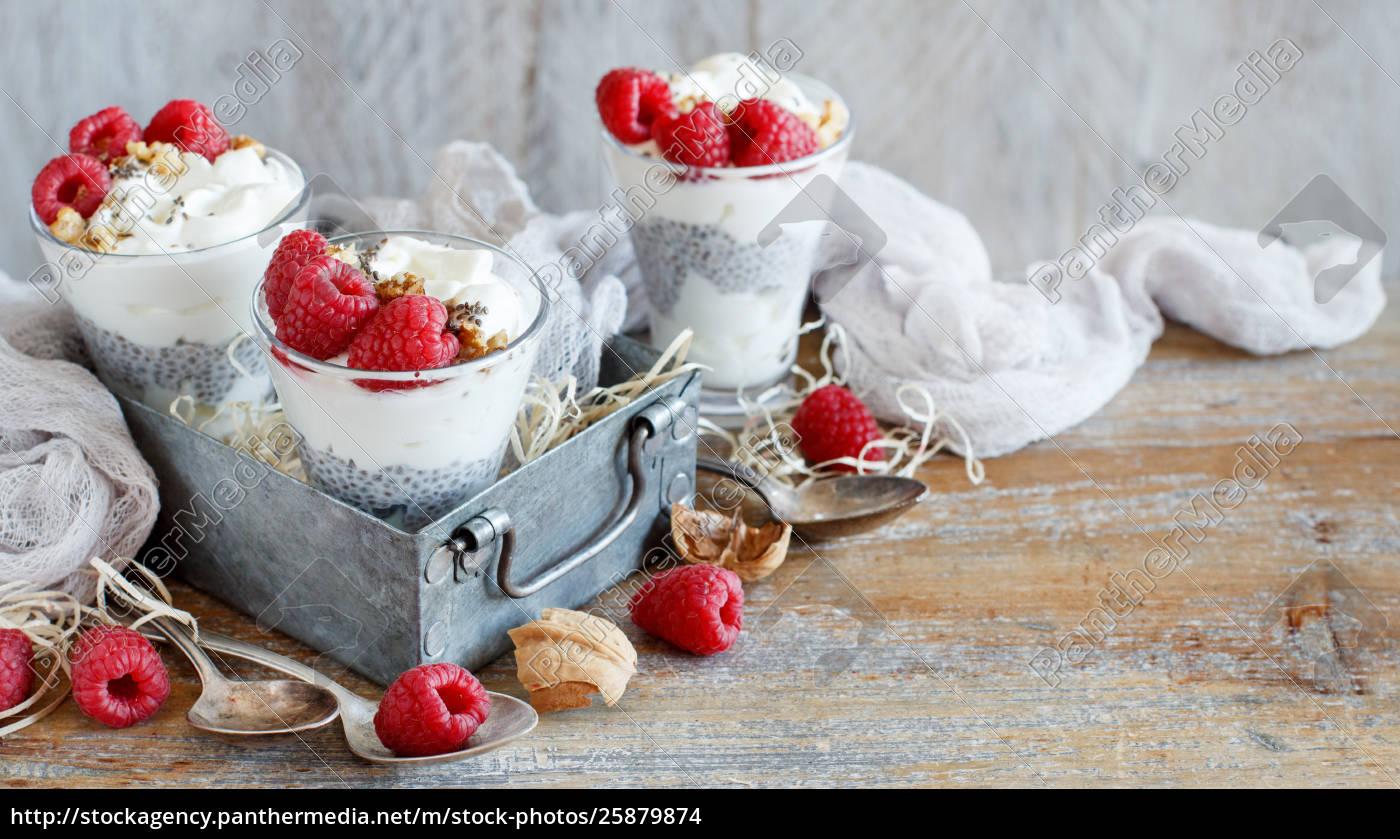 hindbær, og, yoghurt, chia, budding, parfait - 25879874