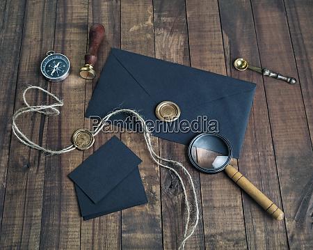 vintage, sort, brevpapir - 25887306