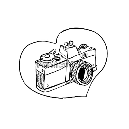 Argang 35mm slr kamera hjerte tegning