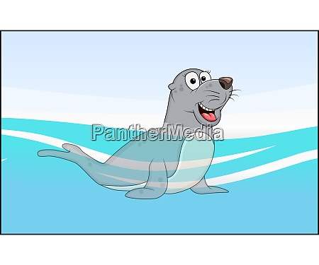 cartoon seal dyr i havet vand