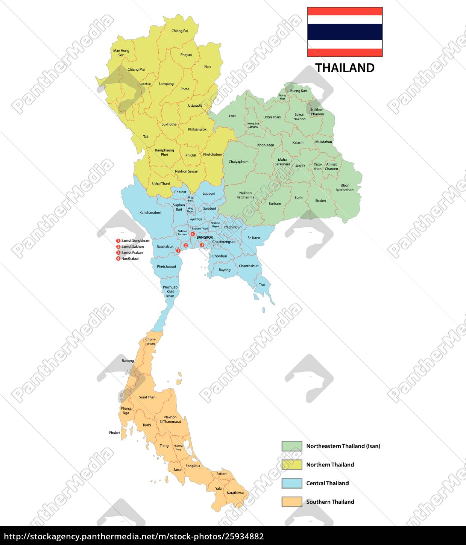 Provinser Og Regioner Kort Over Kongeriget Thailand Stockphoto