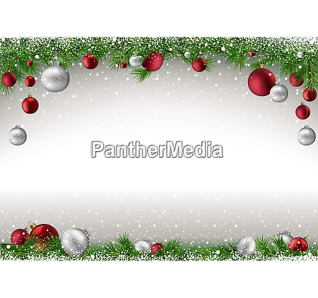 christmas background with branches and baubles