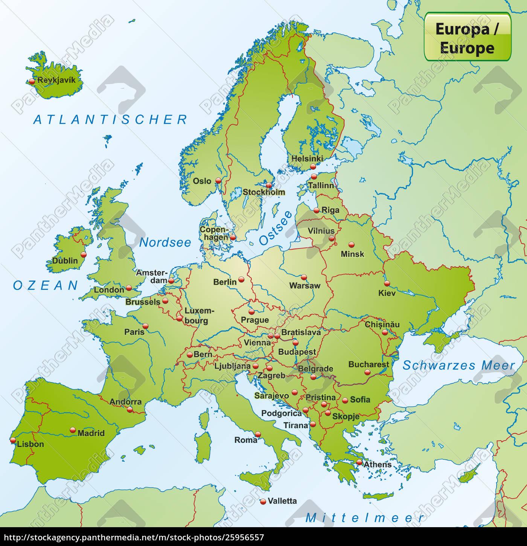 Kort Over Europa Med Hovedstaeder Royalty Free Image 25956557