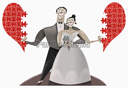 bride and groom with puzzle heart