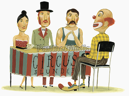circus panel interviewing clown