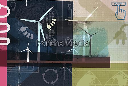 windmills and renewable energy collage