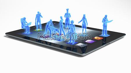 blue business people standing on digital