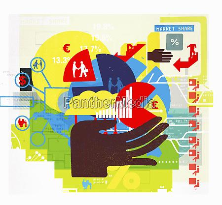 hand holde erhvervsfinansiering diagrammer og forbindelser