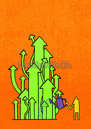 man watering ascending green arrows with