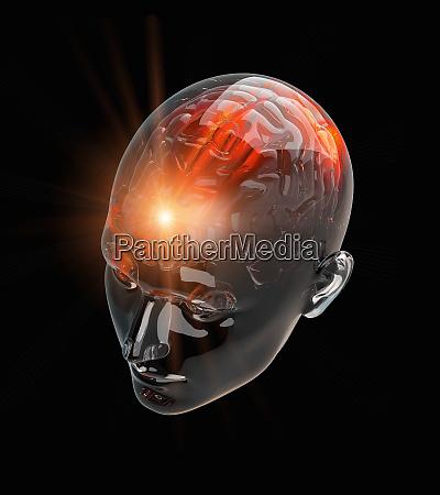 illuminated activity from red human brain