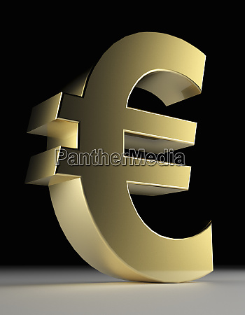 close up of gold euro symbol