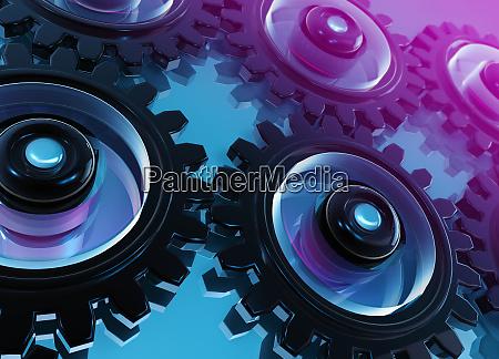 digitalt genererede sammenkoblede tandhjul og tandhjul