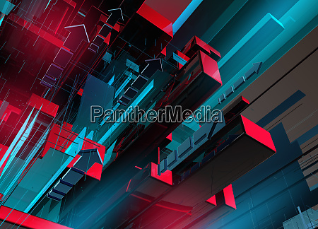abstract blue and red geometric block