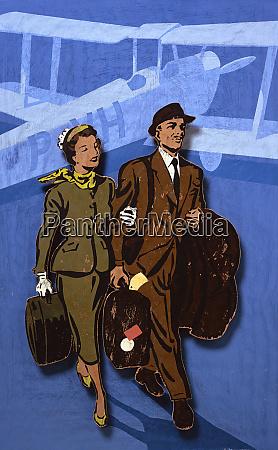 elegant man and woman walking on