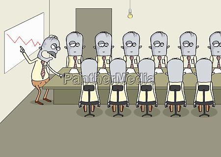 businessmen in gloomy board meeting listening