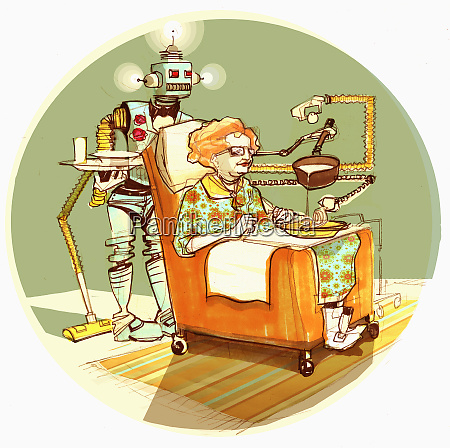 robot serving old woman soup