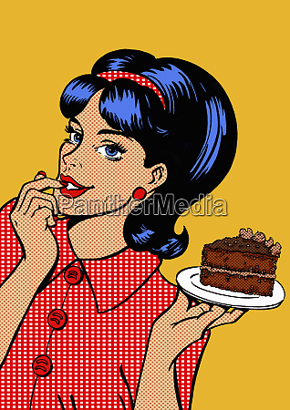 young woman tempted by slice of