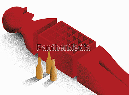 red man with empty crate for