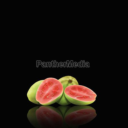 ganze und geschnittene guavas