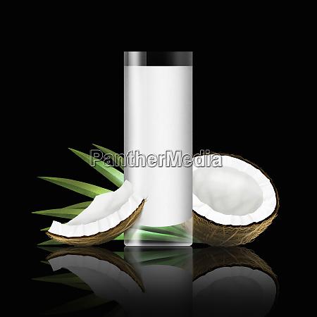 glas kokosmaelk med stykker af kokos