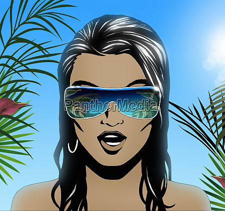 woman wearing sunglasses in tropical sunshine